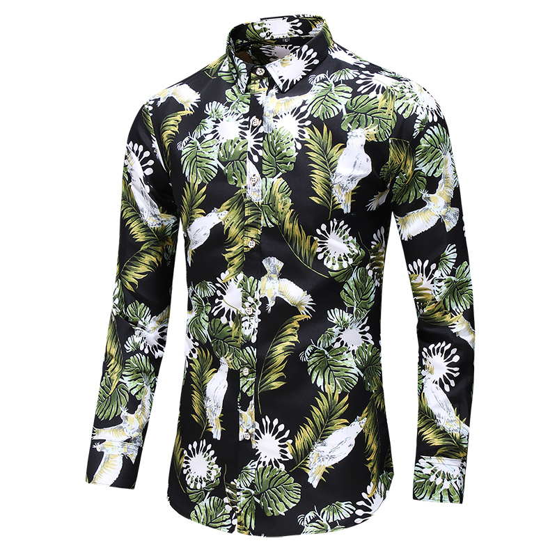 New Men Flower Printed Long Sleeve Casual Shirt Male Holiday Party Slim Dress Shirts Camisa Masculina Plus Size 5XL 6XL 7XL(China)