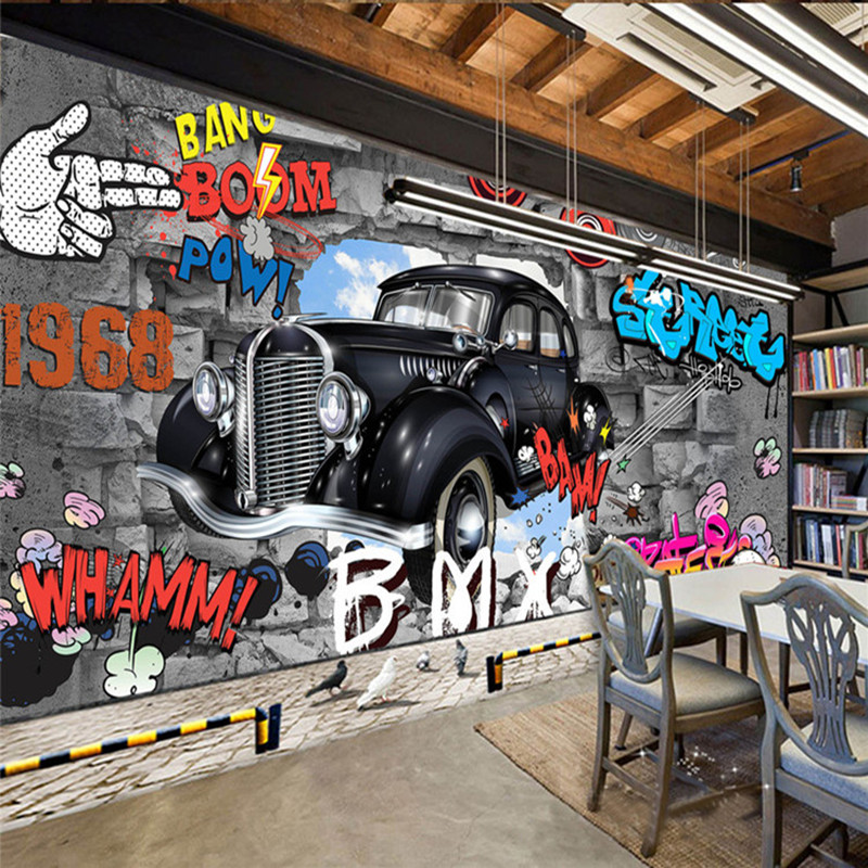 Custom painted tiles 3d retro nostalgia continental cafe for Car wallpaper mural