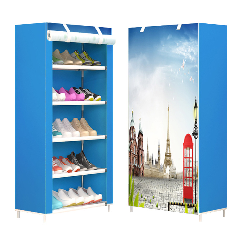 Image 3 - Maple Leaf Candy Color Shoe Racks Cabinet Shoes Rack Space Saver Boot Organizer Shelf Home Furniture DIY Assembly Non woven-in Shoe Cabinets from Furniture