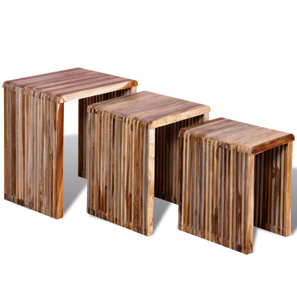 Three Piece Nesting Tables Reclaimed Teak Kitchen Table Computer Desk For  Home Furniture