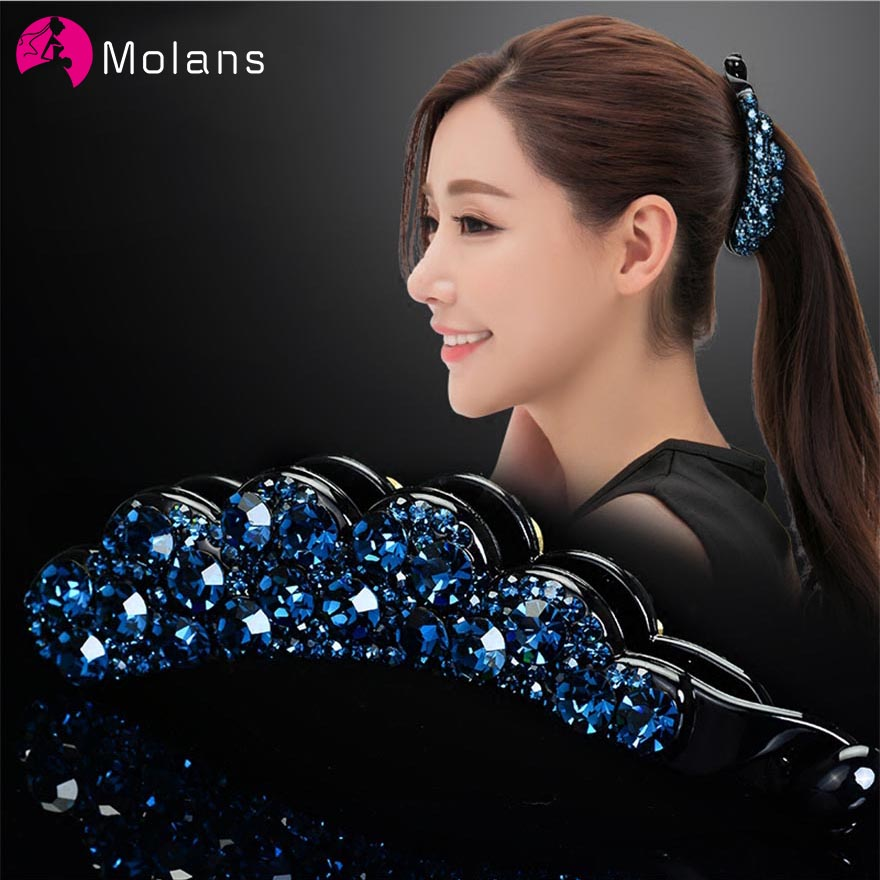 Molans 2019 Fashion Korean Drill Hairpins Floral Banana Clip Muti-color Crystal Ponytail Hairpin For Women Hair Accessories