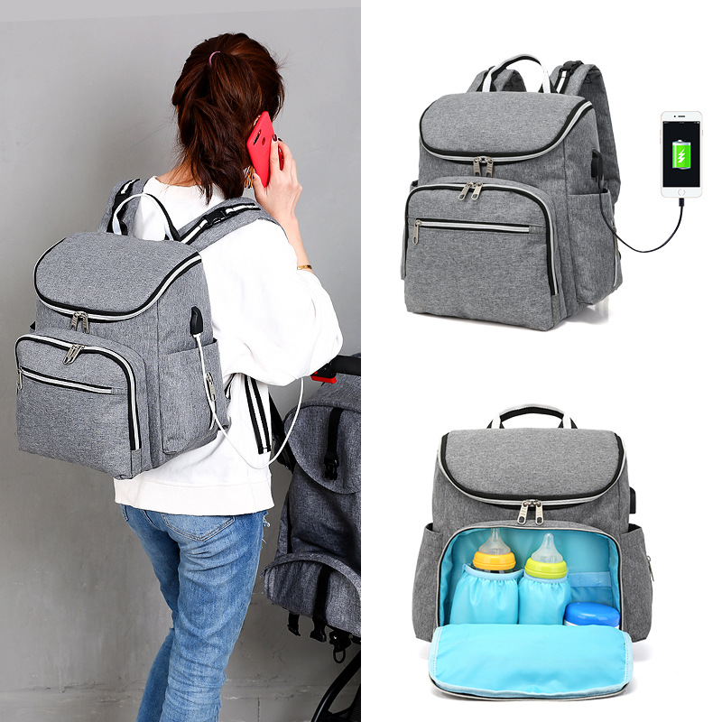 Mommy Fashion Tote Bag Smart Casual Charging USB Interface Nurse Baby Storage Bag Pregnant Woman Expectant Backpack