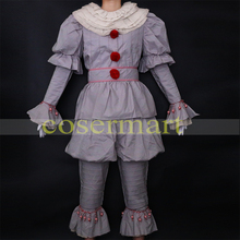 Pennywise Cosplay Costume Stephen Kings it Mens Clown Halloween Terror Masquerade