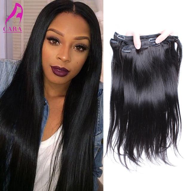 7A virgen del indio del pelo Clip en extensiones del pelo humano indio recto Clip en extensiones de cabello 7 unids/lote Cara pelo virginal