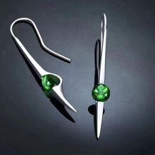 Fashion hook ladies earrings green color and purple heart-shaped round zircon simple fashion jewelry W5M093