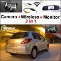 3 in1 Cámara + Receptor Inalámbrico + Monitor Del Espejo Especial Copia de seguridad de Sistema de Aparcamiento Para NISSAN Versa Hatchback 5D C11X 2006 ~ 2013