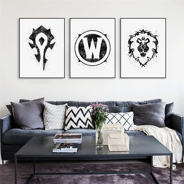 HAOCHU World of Warcraft Painting Watercolor Canvas Background Art Print Wall Picture Living Room Restaurant Corridor Decoration