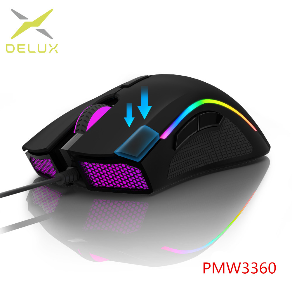 Delux M625 PMW3360 Sensor 12000FPS 7 Botões RGB Backlight Optical Gaming Mouse 12000 DPI Ratos Wired com Fogo Chave Para FPS Gamer