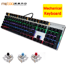 Time limit purchase Metoo Edition Mechanical Keyboard 104 keys Blue Switch Gaming Keyboards for Tablet Desktop Russian sticker metoo edition backlit led gaming mechanical keyboard 87 104 keys blue black red switch genuine wired keyboards russian english