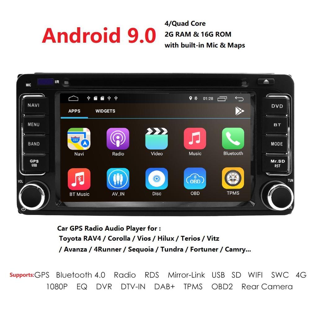 Android 9.0 GRAM + 4GROM 16 2 DVD Player Para Toyota Universal RAV4 COROLLA VIOS Terios HILUX Land Cruiser 100 PRADO 4 CORREDOR DAB + BT PC