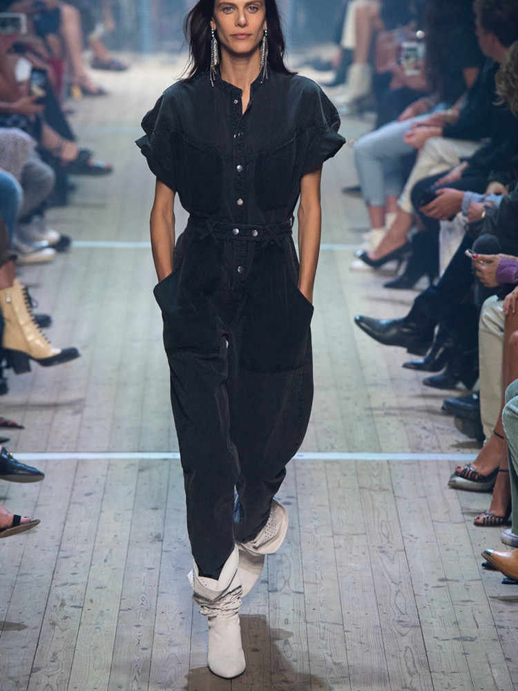 Runway mamelucos Denim womens jumpsuit 2019 Streetwear mujer overoles sueltos manga de murciélago Long Black jeans monos