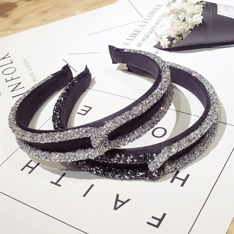 New Fashion Rhinestone Crystal Cross Hair Bands Unique Design Wide Hairband Headbands for Women Girl Shiny Hoop Hair Accessories