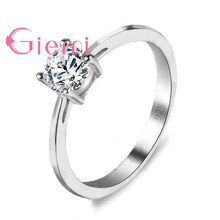 Factory Price 925 Sterling Silver Simple Rings for Women Girls Best Gifts Shiny Clear Zircon CZ Crystal Wedding Jewelry(China)