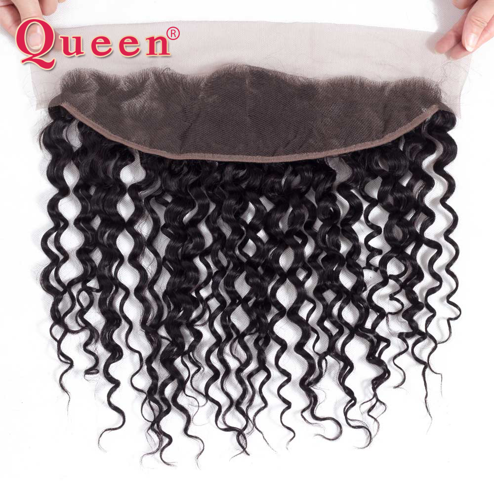 Queen Products Brazilian Water Wave 13X4 Lace Frontal Closure Remy Frontal Closure Natural Hairline Pre Plucked With Baby Hair