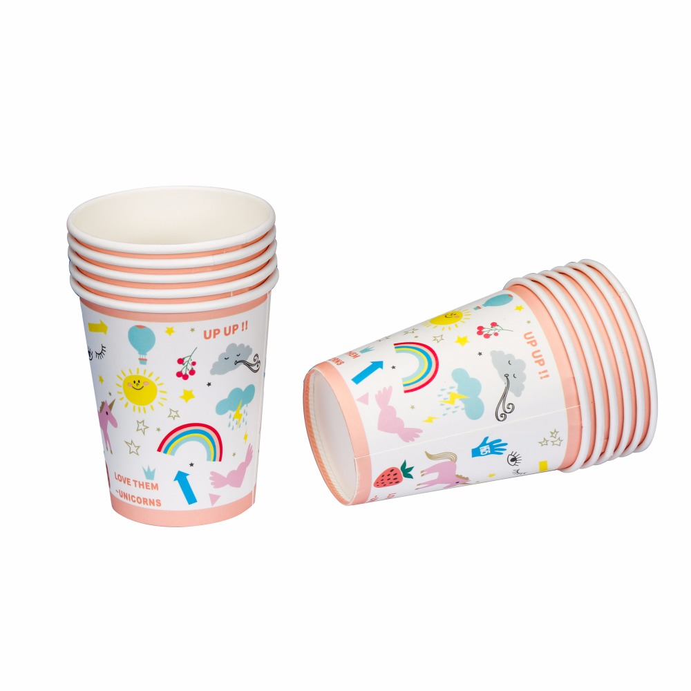Riscawin Unicorn Paper Cups Disposable Tableware Wedding Birthday ...