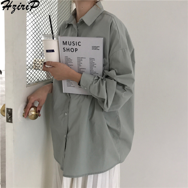 HziriP Women Blouses 2019 Spring Solid Blouse Loose Casual Vacation All-Match Women Tops Shirts Blusas Camisas Mujer 4 Colors