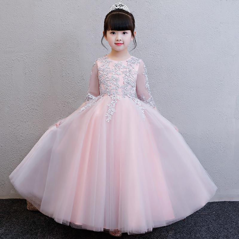 2018Spring Summer New Girls Kids Elegant Pink/Gray Color Wedding Birthday Party Long Mesh Lace Dress Children Baby Pageant Dress 2017 new high quality girls children white color princess dress kids baby birthday wedding party lace dress with bow knot design