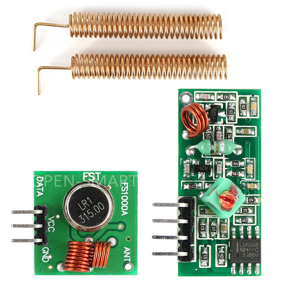 RF 315MHz Module RF Transmitter Receiver Module 315MHz Wireless Link Kit + 315MHz Spring Antenna For Arduino