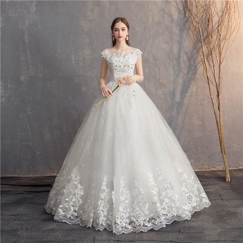 EZKUNTZA 2019 Diamond Lace Wedding Dress O-neck Beading Ball Gown Simple Cheap Wedding Dresses Princess Vintage Wedding Dresses