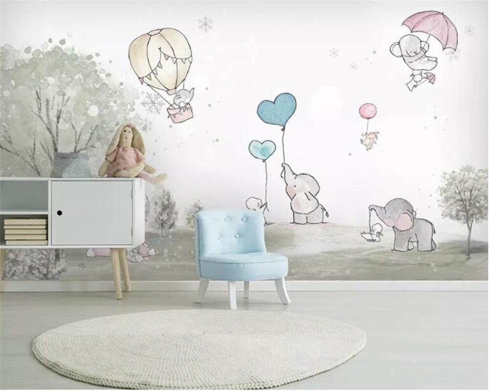 Beibehang Custom 3d Wallpaper Lovely Cartoon Elephant  Cartoon Bear Hot Air Balloon Animal Room Background Wall 3d Wallpaper