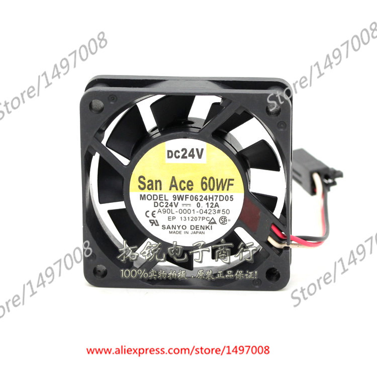 Free Shipping For Sanyo  9WF0624H7D05  DC 24V 0.12A 3-wire 3-pin connector 40mm, 60x60x15mm Server Square fan free shipping for delta afc0612db 9j10r dc 12v 0 45a 60x60x15mm 60mm 3 wire 3 pin connector server square fan