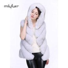 Milyfuer Real Fox Fur Vest Women's Winter Natural Fox Fur Coats Fashion Autumn Winter Fur Fox Vest Loose Coat Vest Jacket Female