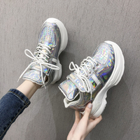 2019 Spring New Chunky Sneakers Women Thick Sole Patent Leather Platform Shoes Harajuku Dad Shoes Fashion White Sneakers