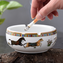 Ashtray Ceramic Cigar Holder Horse Round Smoking Accessory Creative Father Day Gift Luxury for Home Office