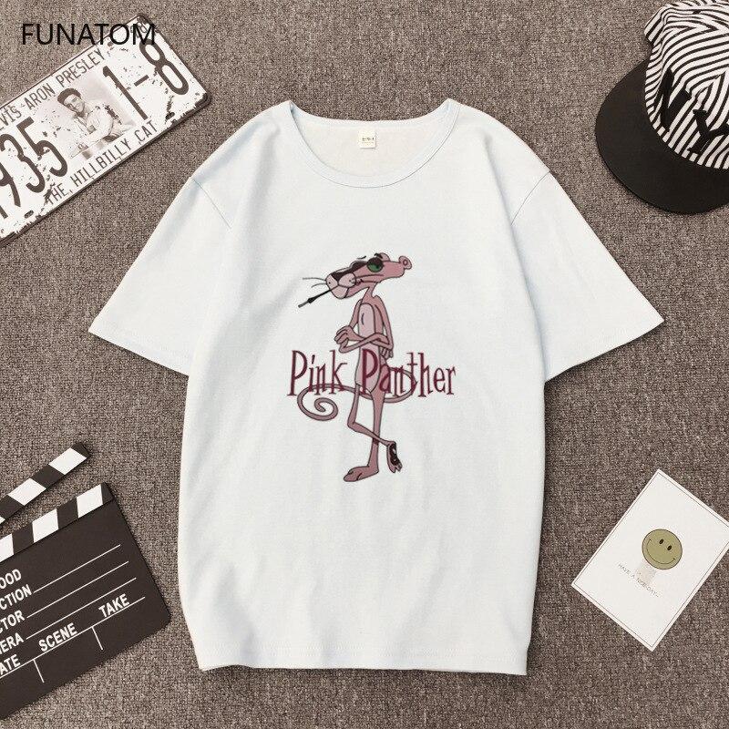 Summer Pink Panther Leather Short Sleeve T Shirt Female Student Female T-shirt Korean Cute Cartoon Shirt 2019 New