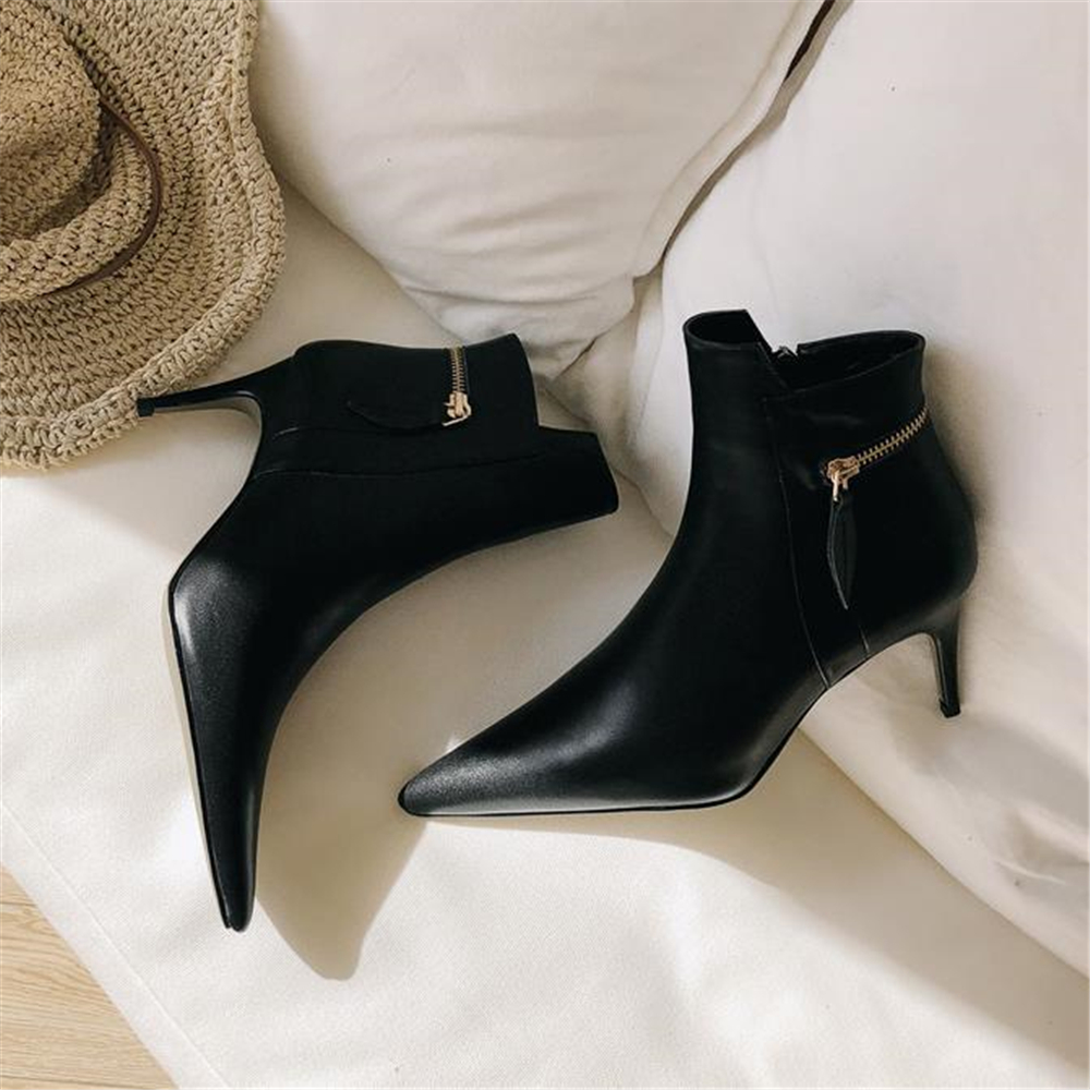 2018 autumn and winter new black boots, women's pointcuts and leather shoes, European and American sexy boots and ankle boots. женская рубашка european and american big 1715
