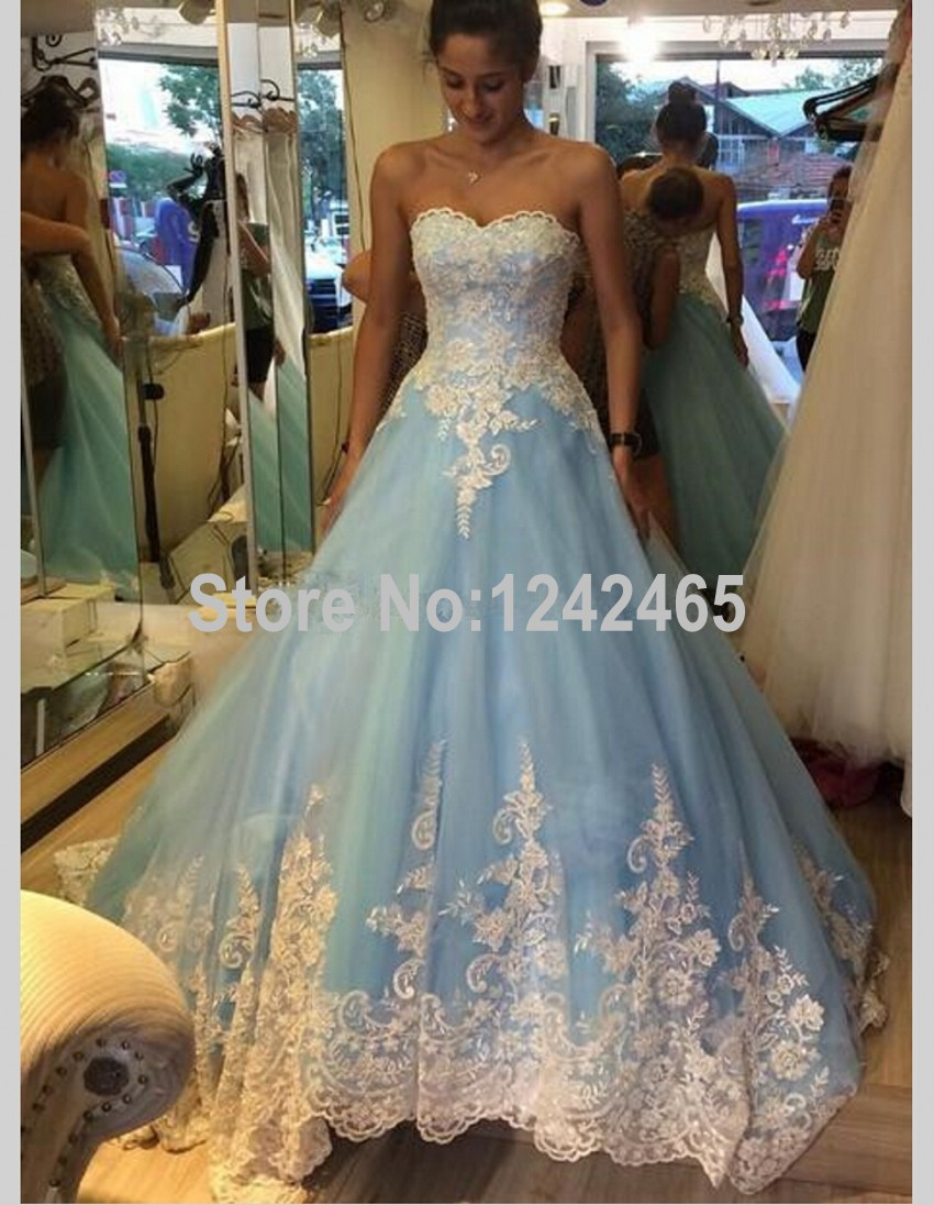 Hot Design Ball Gown Sweetheart Tulle Blue Wedding Dresses Colored ...