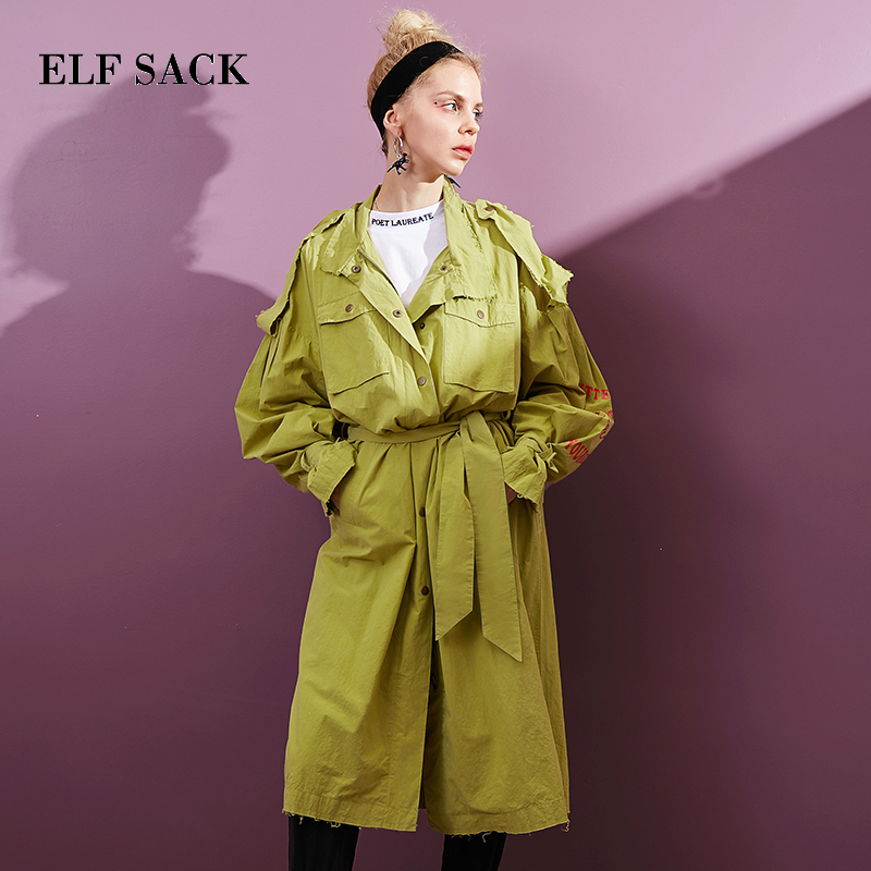 ELF SACK Women   Trench   Coats Letter Print Sleeve Loose Outerwear Woman Worker Streetwear Long Trenchcoats Tie Female OL   Trench