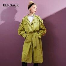 ELFSACK النساء معطف واقٍ من المطر إلكتروني طباعة كم فضفاض ملابس خارجية امرأة عامل الشارع الشهير طويل ترينشويتس التعادل الإناث OL خندق