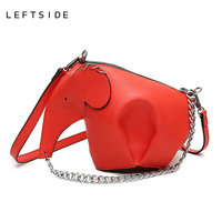 LEFTSIDE 2016 Women Small Elephant Designer Handbag Animal Chain Crossbody Bags PU Leather Handbags Lady Fashion