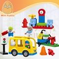 Minitudou 29 PCS Modelos & Toy Building Bus Stop Conjunto de Partículas Grandes de Construção Duplo Blocos Figuras Para Crianças