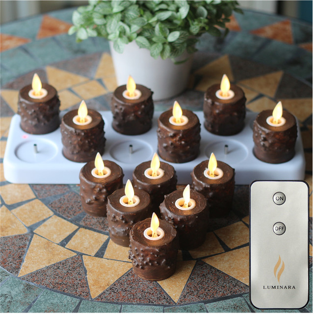 12pcs Primitive Tealight Candles With Moving Wick Flameless Votive Night Light Remote AndTimer Charging Plate Home Decoration