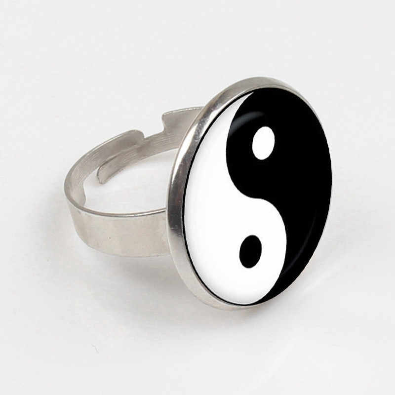 New hot Vintage Yin Yang Ring Tattoo Ring Handmade Silver Ring Yin Yang Jewelry Fashion brand gift