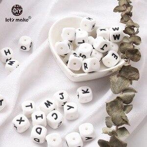 Image 5 - Vamos fazer 500 pçs alfabeto letras 12mm grau alimentício silicone diy dentição colar 26 letras bpa livre silicone mordedor grânulos