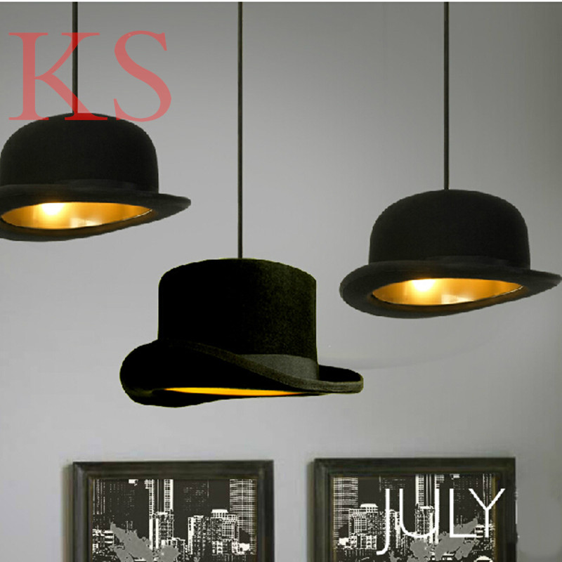 Modern flannelette chandelier Britain Jeeves & Wooster Top Hat Pendant Flat cap Light led indoor lighting shop bar decoration hand made wool felt hat aluminum suspension lamp cap jeeves and wooster pendant light hanging lighting dinning hall couture