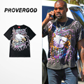 PROVERGOD Wow Hip Hop Short Sleeve O Neck Print T-shirt Rock Heavy Metal Tops Tees Classic Streetwear Overisze Cool