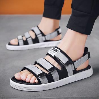 UNN najnowszy letnie męskie buty plaża mieszkania Snadals Gladiator sandały dla mężczyzn otwarte kapcie Sandalias buty mężczyźni czerwony szary tanie i dobre opinie Dla dorosłych Brak Tkane Hook loop RUBBER Na co dzień Sandals Shoes Men Stałe Rzym Płytkie Pasuje prawda na wymiar weź swój normalny rozmiar