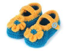 1 пара новый прекрасный мягкий мальчиков девочки цветы контрастного цвета ручного вязания малыша обувь детская кроватка обувь 11 см