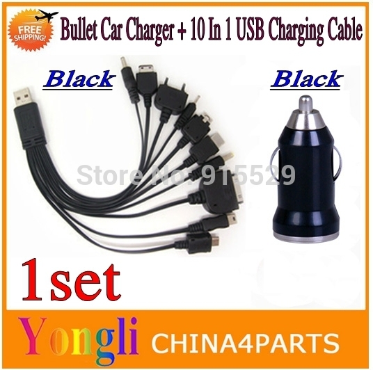 10sets Black 10 in 1 universal usb cables and Black bullet car charger For iphone ipad Samsung HTC Blackberry Nokia.Freeshipping