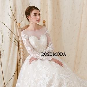 Image 5 - Rose Moda Gorgeous แขนยาว Princess Wedding Ball Gown ต่ำ V V V V V V V V V V V V V V V V V V ชุดแต่งงานลูกไม้กับ Royal Train