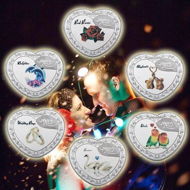WR 999,9 plata chapada en forma de corazón monedas de Metal anillos de cisne rosa roja diseño de moneda conmemorativa para Navidad de San Valentín regalo