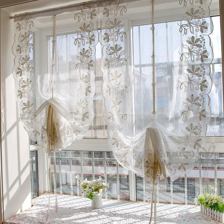 Junwell 1PC Terry Embroidery Lace Roman Curtain Iris Tectorum Maxim Emb Home Wave European Living Room Kitchen Balcony Voile