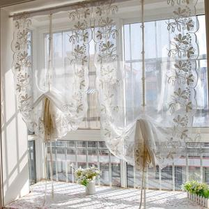 Junwell 1PC Terry Embroidery Lace Roman Curtain Iris Tectorum Maxim Emb Home Wave European Living Room Kitchen Balcony Voile(China)