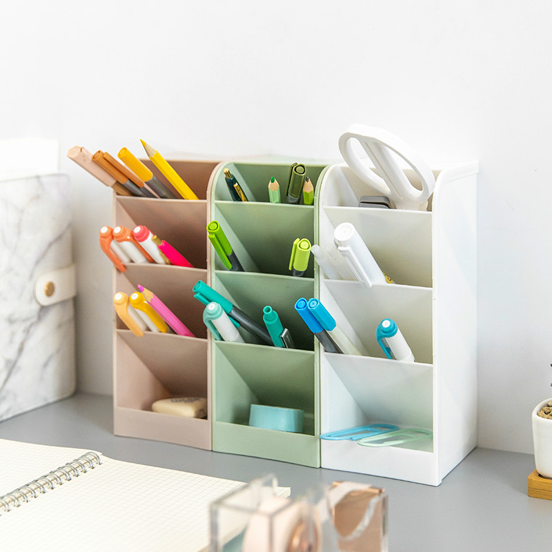 High Capacity Pen Holder Pencil Pot Box Case Makeup Brushes Storage Desk Organiser Container Stationery Decor Storage Gift