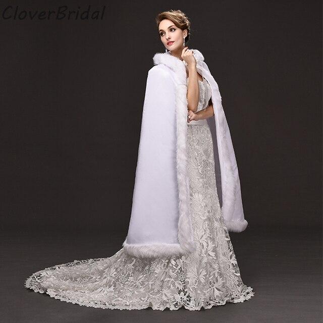 3db5a8442871 1.2 metri Lungo Bianco Wedding Cappotti Da Sposa Inverno 2016 Cappotto di  Pelliccia Del Faux Inverno