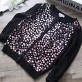 Y70197655 2017 New Girl Cardigan Solid Single Breasted Appliques Sequins Girl Sweater Kniting Fashion Children Clothes